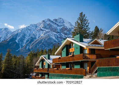 View of the mountain lodges at the Pyramid Lake in Jasper National Park in Alberta, Canada