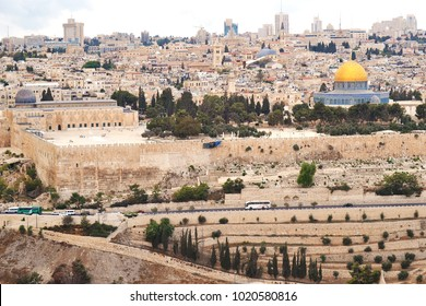 View from the Mountain of Olives on the Dome of the Rock and Temple Mount with ancient cemetery in East Jerusalem, Israel.