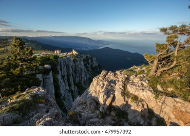 view from the mountain on a cliff, mountain Crimea, above the clouds