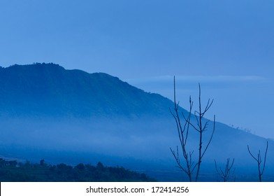 view of mountain on morning sky