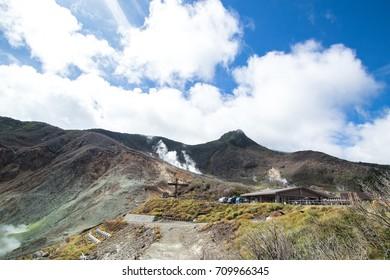 View of mountain at owakudani, sulfur quarry in Hakone, Japan