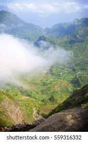 The view from the mountain to Paul Valley in the island of Santo Antão (São Antão), Cape Verde. Beautiful landscape with mountains and bright blue with some clouds