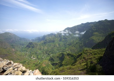 The view from the mountain to Paul Valley in the island of Santo Antão (São Antão). Beautiful landscape with mountains and bright blue with some clouds