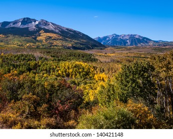 View of  Mountain Peaks Through a colorful valley near Crested Butte, Colorado