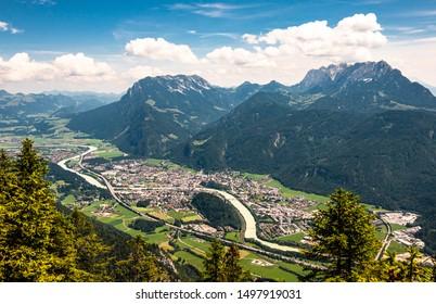 view from mountain pendling near kufstein - austria