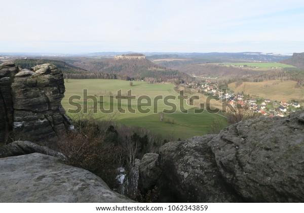 a view from the mountain Pfaffenstein, saxon switzerland