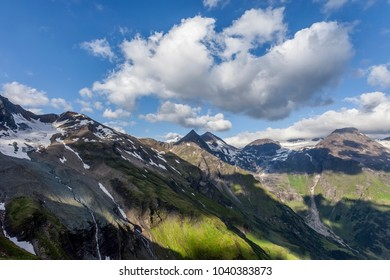 A view of the mountain range in the Alps