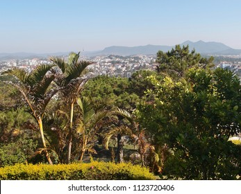 View of the mountain range and Dalat city. Vietnam