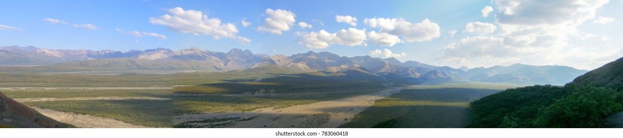 View of a mountain range in Denali National Park, Alaska on a bright summer day