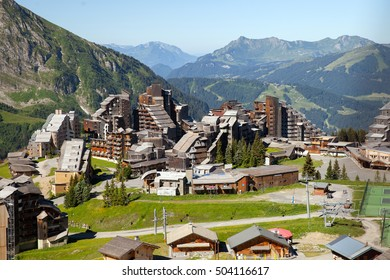 A view of mountain resort in european Alps, Avoriaz, France