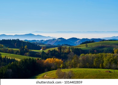 View from the mountain in the Rhine Valley in the haze on the Vosges in the fall in inversionswetterlage