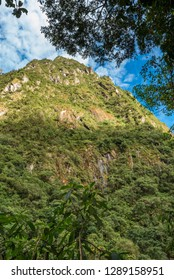View of mountain ridge from jungle resort with  blue sky