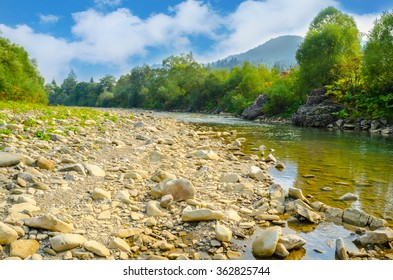view of mountain river. beautiful summer mountains landscape