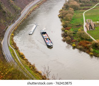 view from the mountain at the river Mosel by Moselschleife Bremm Germany