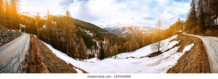 View of mountain road, Alps Switzerland. Winter nature background
