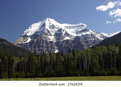 View of Mountain Robson, in the Canadian Rocky mountains found in British Columbia Canada