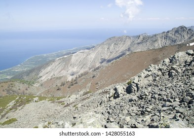 View from the mountain Saos to the shore of the island of Samothrace in Greece