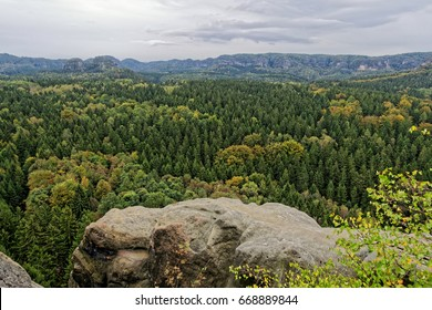 View from the mountain to the Saxon Switzerland