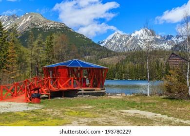 A view of a mountain shalter near Popradzkie Lake in Slovakian Tatras, Slovakia