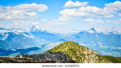 The view from a mountain summit in Spring - Canadian Rocky Mountains, Pedley Pass, British Columbia, Canada
