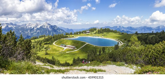View from the mountain top called Hoess at the Austrian Alps. The Hoes is part of the Village Hinterstoder in Upper Austria and especially known for his famous world cup ski races in winter.