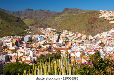 VIew mountain town white houses flowers, Playa de Santiago, La Gomera, Canary Islands