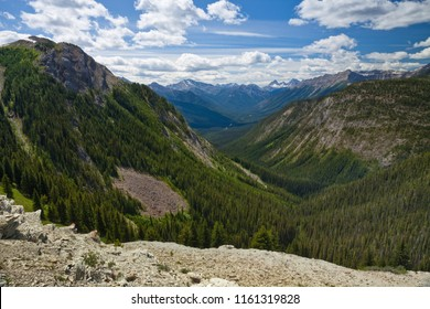 View in to a mountain valley in Banff National Park, Alberta, Canada