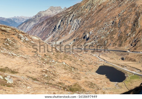 view at the mountain valley with road to Gotthard pass, Switzerland