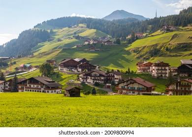 View of the mountain village of Selva di Val Gardena
