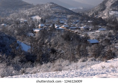 View of the mountain village in Stara Planina in Bulgaria in the winter