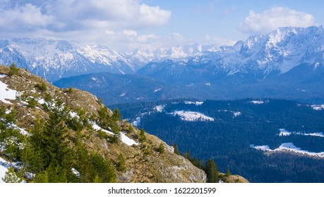 View from Mountain Wank Germany to Peaks of Alps Austria