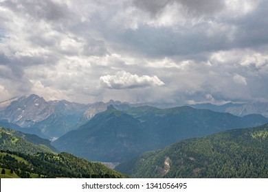 View of a mountainous alp landscape in the Dolomites