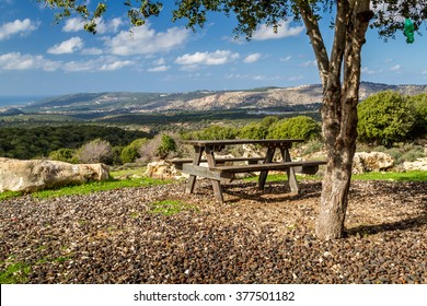 View of the mountainous area of the Upper Galilee  from the lookout, Israel