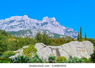 View of mountains & Ai-Petri peaks from park at Vorontsov Palace (Alupka, Russia).