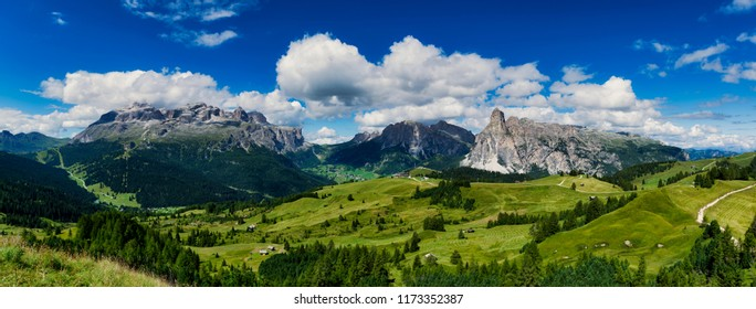view of the mountains of Alta Badia in summer season - Sudtirol, Italy