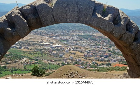 View from the mountains of the ancien city of Bergama, in the territory of modern Turkey. Landscape from the open-air museum of Pergamon.