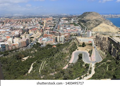 view from the mountains to the beach and the city of Alicante