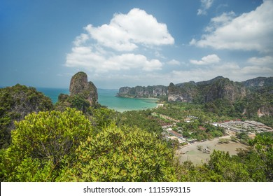View from the mountains to the beach Rayleigh, Krabi Province, Thailand