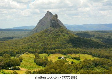 View of Mountains Beerwah and Coonowrin in Glass House Mountains region in Queensland, Australia.