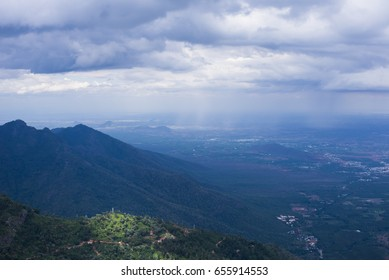 View of Mountains and Coimbatore Plains from Lamb's Rock in Coonoor, Tamil Nadu