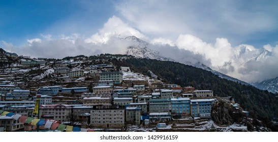 View of mountains and colorful house at Namche BazaarSagarmatha national park, Nepal