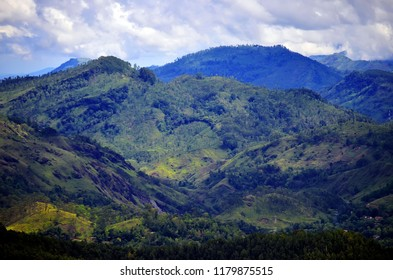 View of the mountains from Ella Rock in Ella, Sri Lanka.