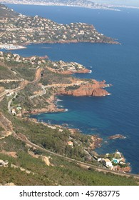 view from the Mountains Of Esterel on the scenic coast of the Cote d'azur