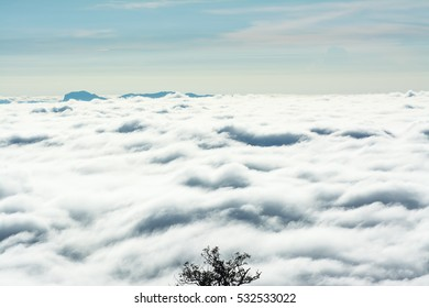 View of mountains and foggy clouds.