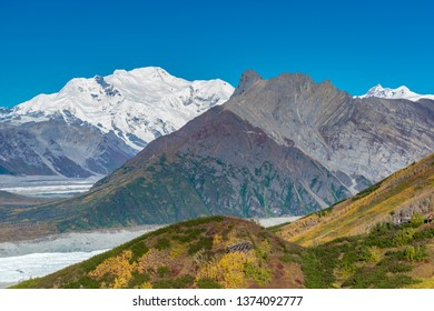 View of mountains and glacier in Wrangell st Elias national park, Alaska, USA