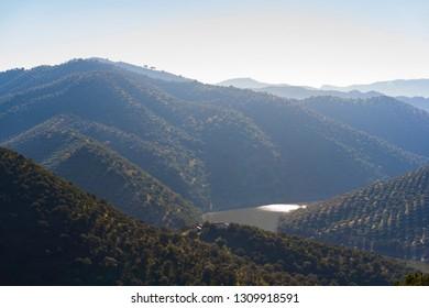 "View of mountains and Guadalmellato Reservoir in ""Sierra Morena"" (Cordoba - Spain)"