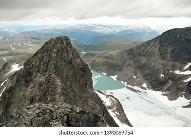 View from mountains in Jotunheimen, located in the end of Sognefjorden, close to Jostedalsbreen.