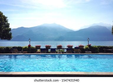 View of mountains and lake from pool terrace