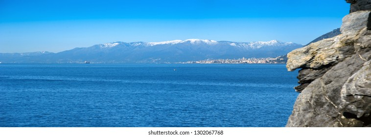 view from the mountains of Liguria in winter days with an blue sky from the sea