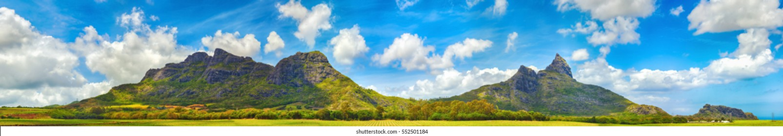 View of a mountains. Mauritius island. Panorama